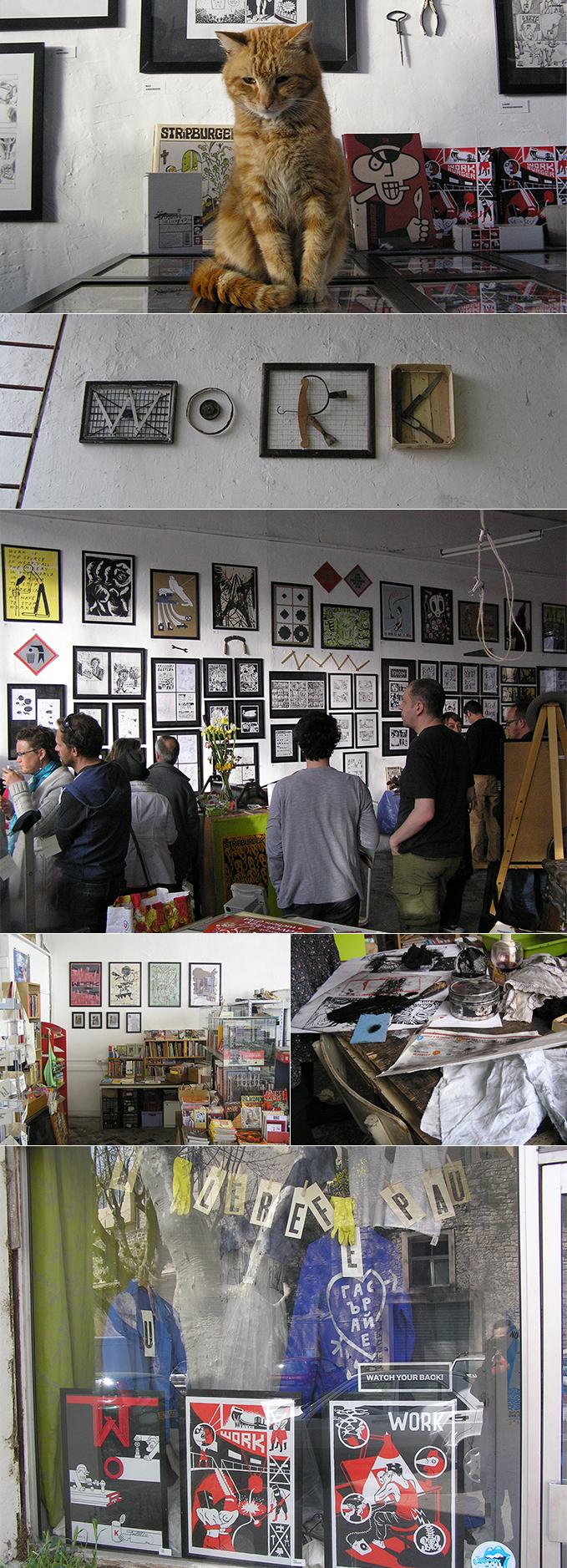 Razstava Pozor, delo! v Le Garage L, Forcalquier, Francija, 2014 Fotografije: Le Garage L